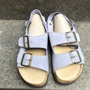 Lands End Milano Sky Blue Suede Buckle Sandal 6